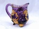 Elegant  Amethyst Glass Pressed Glass Creamer with Gold Trim