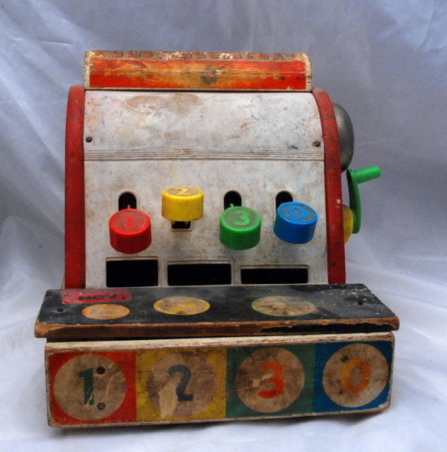 Old Wooden Toy Cash Register,# 972 Fisher Price