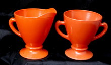 Retro Vintage Anchor Hocking Orange Glass Creamer & Sugar Set