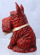 VINTAGE METAL RED PAINT SCOTTI DOG COIN BANK WITH KEY.