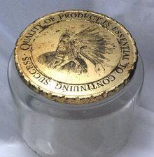 Duraglas Tobacco Jar with Native American Indian on Lid
