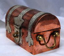 Solid Copper / Brass Dome Top Steamer Trunk Trinket Box