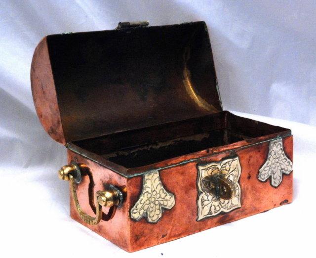Solid Copper / Brass Dome Top Steamer Trunk Trinket Box