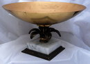 Old Shallow Brass Compote on Italian Marble Base