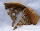 Pair of  Rococo Style Gold Gilt Syroco Wood Sconce Type Shelves