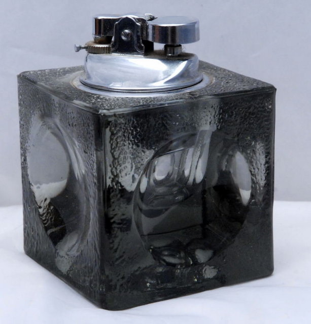 Heavy Smoked Glass Square  Cube Table Lighter