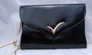 Black Patent Leather Purse by Vanna White with shoulder chain