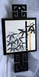 Asian Motif Bamboo Design Tile & Wrought Iron Trivet, Japan