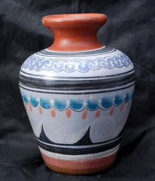 Mexican Cinnamon Clay Pottery Vase signed I. Jarero   Folk Art Pottery