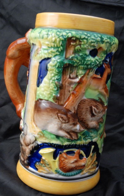 Majolica German Style  Beer Stein Forest Animals, Wales, made in  Japan