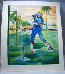 Water Color Painting T-Ball or Batting Practice?  Original Illustration