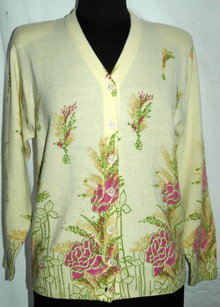Vintage Italian  Lana Wool Cardigan Sweater,  yellow with flowers* PRICED REDUCED! **