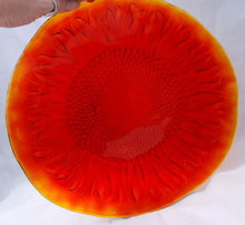 Handmade Orange Glass Sunflower Plate