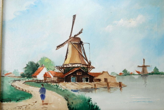 Dutch Windmill Oil Painting of Zaanse Schans, Netherlands signed.