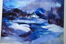 Water Color Painting, Snowy  Winter Scene  of House with Storm Looming  Signed S. Peplow  '99