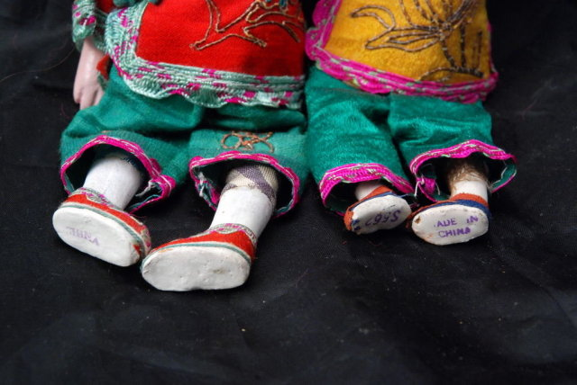 Pair of Chinese  Composition Doll with Silk Clothes