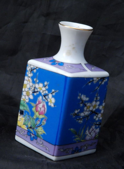 Small Asian Square Bottle Vase, Hand painted enameled porcelain  with pheasent & flowers * PRICED REDUCED! **