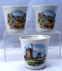 3 Porcelain China Dutch Scene Cups Tea or Coffee
