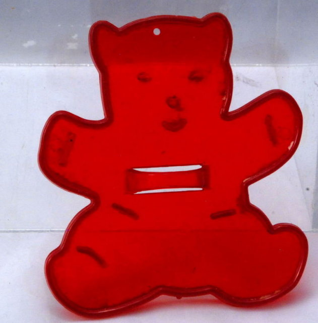 Vintage Red Plastic HRM Teddy Bear Cookie Cutter