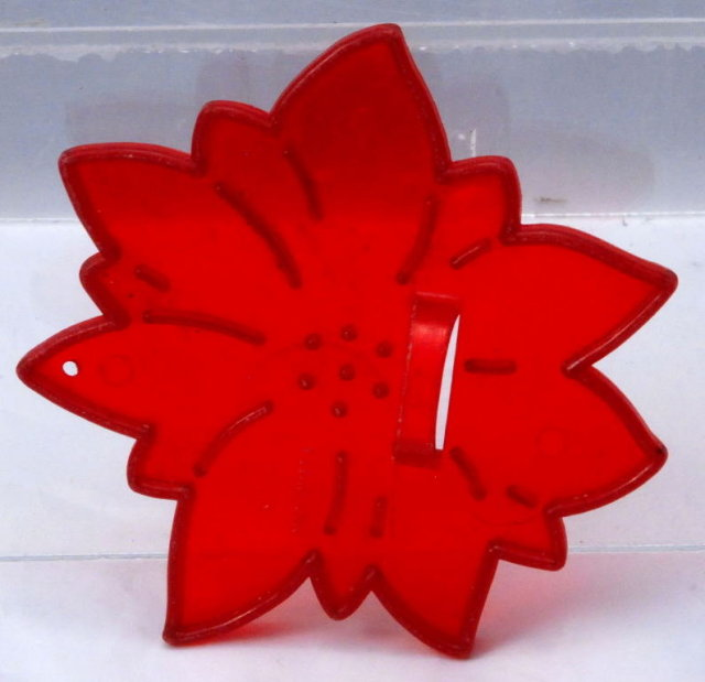 Vintage Red Plastic  HRM Christmas Poinsettia Cookie Cutter