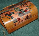 Vintage Egyptian Motif Tooled & Painted purse with studs.