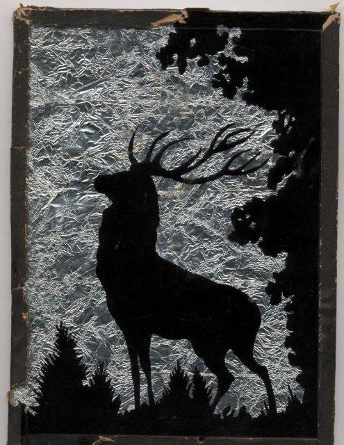 Folk Art Elk Silhouette Foil Backed Picture