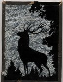 Folk Art Elk Silhouette Foil Backed Picture