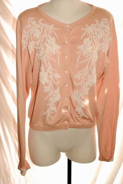 Beaded Pink Cardigan Sweater, Karen Kane size 14