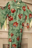 Asian Inspired Hawaiian Pake Dress , long silk Iolani, Moderist Bamboo & Cranes Pattern **PRICE REDUCED!**