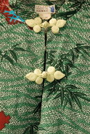Asian Inspired Hawaiian Pake Dress , long silk Iolani, Moderist Bamboo & Cranes Pattern **PRICE REDUCED!**