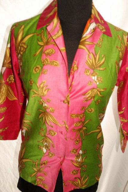 1960's Mod.Hip Hawaiian Shirt, Blouse, Florescent colors , by  Tori Richards of Honolulu