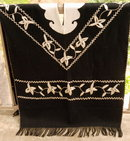 Spanish Embroidered  Alpaca   Wool Felt Poncho Serape Warm and Stylish  * PRICED REDUCED! ** Free Shipping !