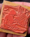 Navajo Rug Weaver Rubber Stamp , wood mounted