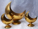 Mid-Century  Dutch Modern Brass Candlestick Holder & Planter Set  Crescent Shape