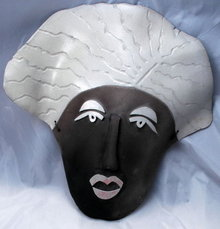 Tribal Ceramic Wall Mask by Ceramic  Raku artist Lynn Paccassi  dated 1996 * PRICED REDUCED! **