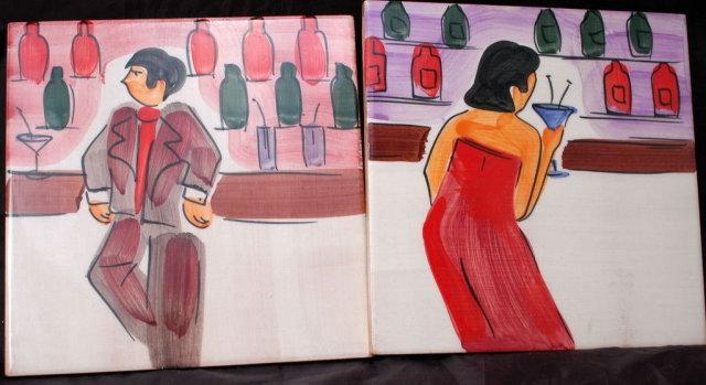 2 Italian Art Tiles Hand Painted Man & Woman Bar Scene Marco E Cristina * PRICED REDUCED! **