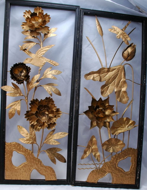 Vintage Chinese Brass Floral Wall  Sculpture