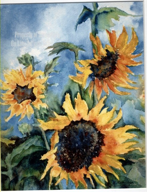 Sun Flower Water Color Painting ,      * PRICED REDUCED! **