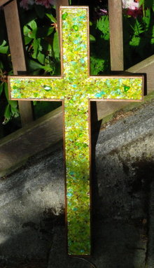 Large Glass Mosaic / Mahogany  Wood Cross