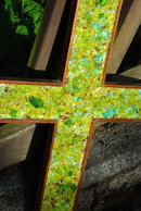 Large Glass Mosaic / Mahogany  Wood Cross