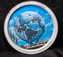 1965 New York World's Fair Unisphere Tin Round Drink Tray