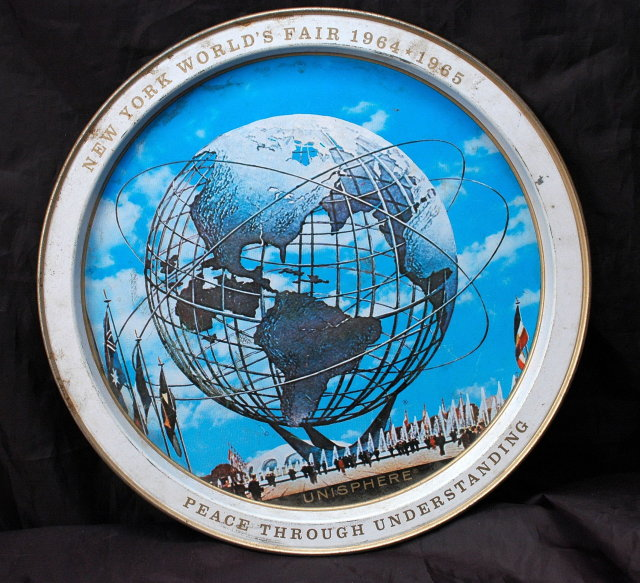 1965 New York World's Fair Unisphere Tin Round Drink Tray