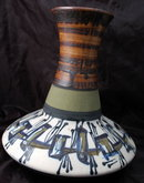 Modernist Eames Era large hand thrown Studio Pottery Vase HARSA Israel Signed and dated.