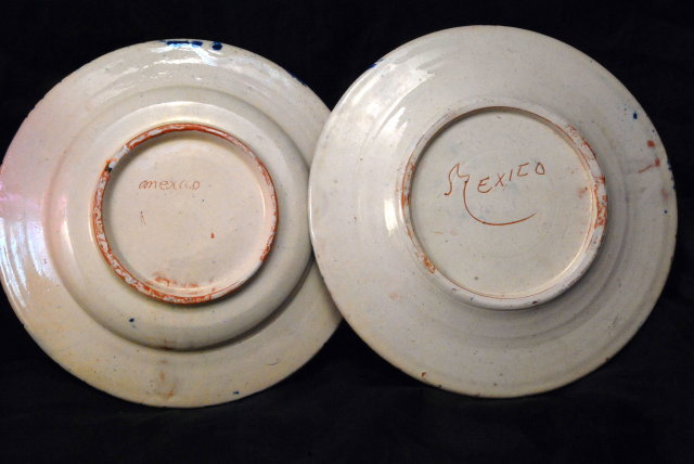 2 Very Old Mexican Pottery Plates, Hand painted Cobalt Blue & Orange Flowers