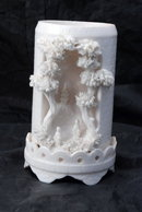 VINTAGE JAPANESE WHITE PORCELAIN VASE, MOLDED NATURAL LANDSCAPE