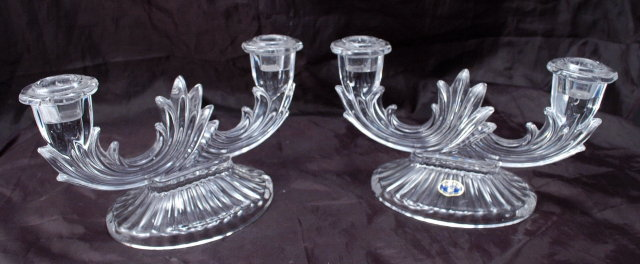 Pair of  BOHEMIA  Crystal  duo Light  CANDLESTICKS or Candelabras