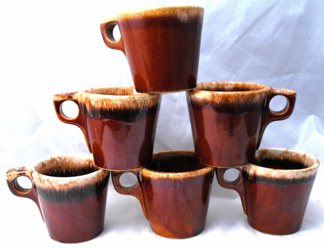 6 Hall Brown Pottery Foam Top Drip Glaze Oven Proof Mugs