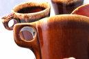 6 Hall Brown Pottery Foam Top Drip Glaze Oven Proof Mugs