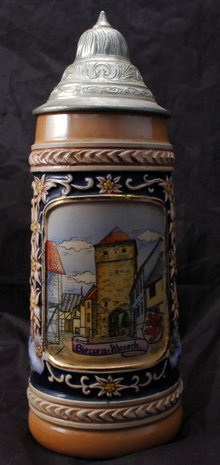 Old  Porcelain German Beer Stein, with pewter lid:  Giessen Wieseck Gate