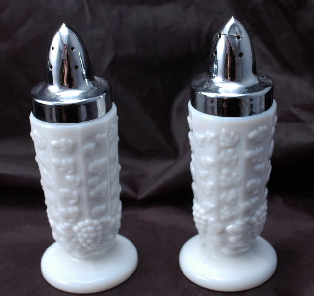 Westmoreland Paneled Grape Milk Glass Salt & Pepper Shakers